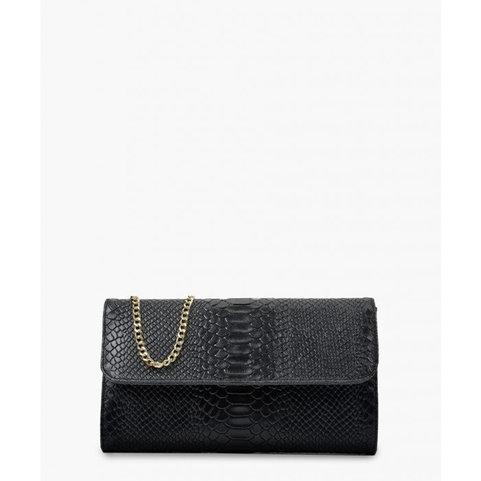 Image for Black printed leather crossbody