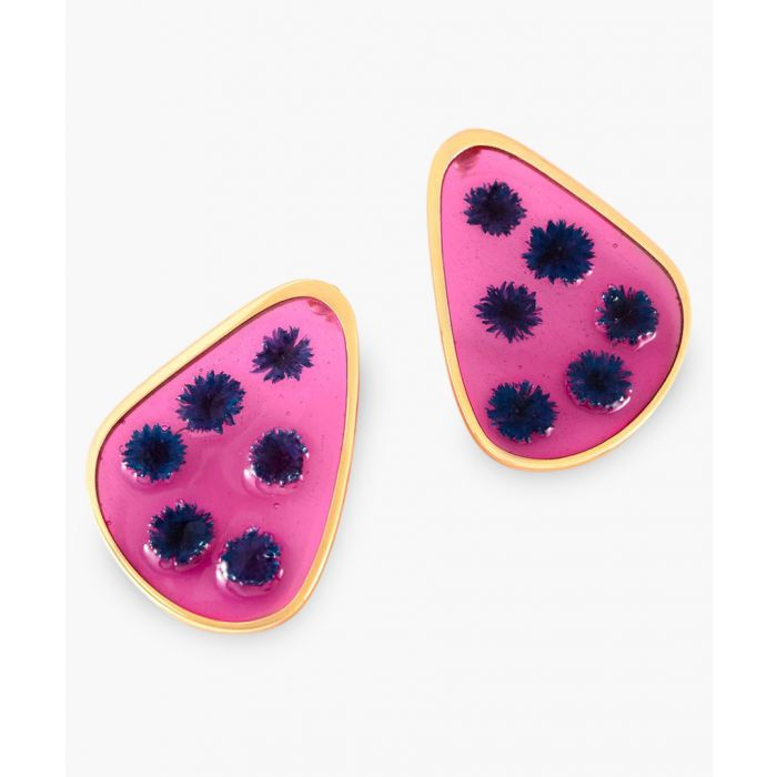 Image for Blue medium petal earrings