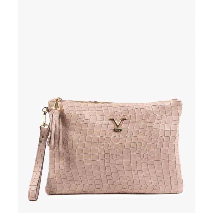 Image for Nude leather logo moc-croc clutch bag
