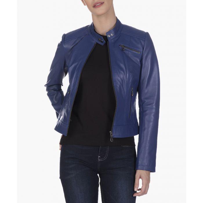 Image for Blue leather jacket