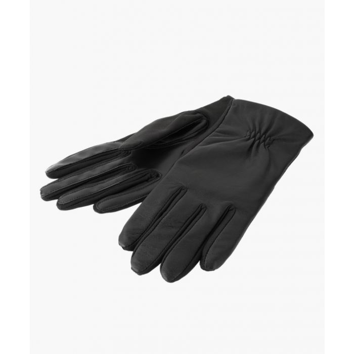 Image for Black Stretch Leather Gloves