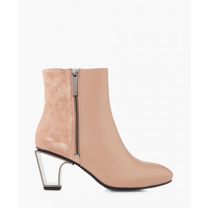 Image for Icon blush leather and metal ankle boots