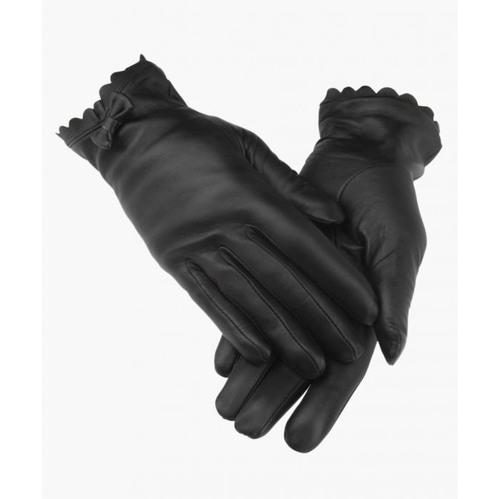 Image for Black Bow Tie Leather Gloves