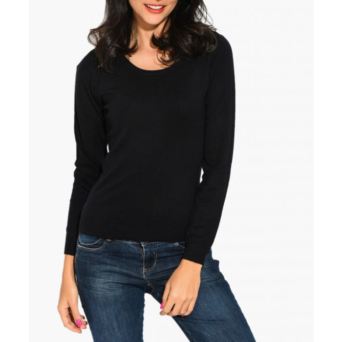 Image for Black cashmere and silk blend jumper