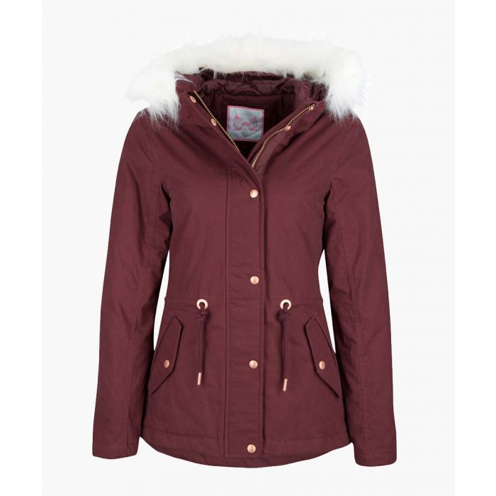 Image for Bordeaux faux fur hooded coat