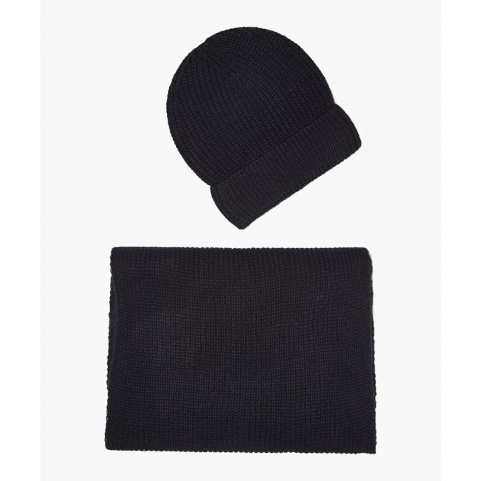 Image for 2pc black cashmere and mohair blend scarf and cap set