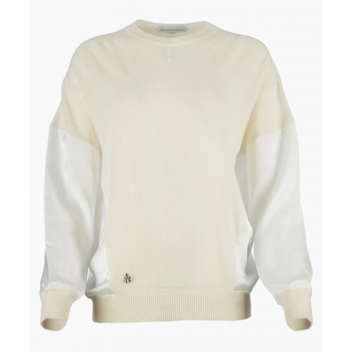 Image for White cashmere blend knit top