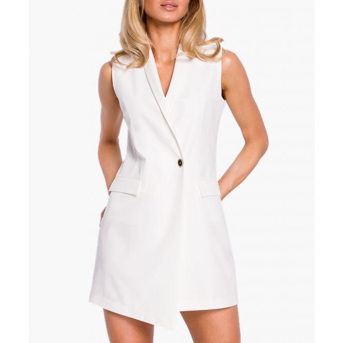 Image for Ecru tuxedo mini dress