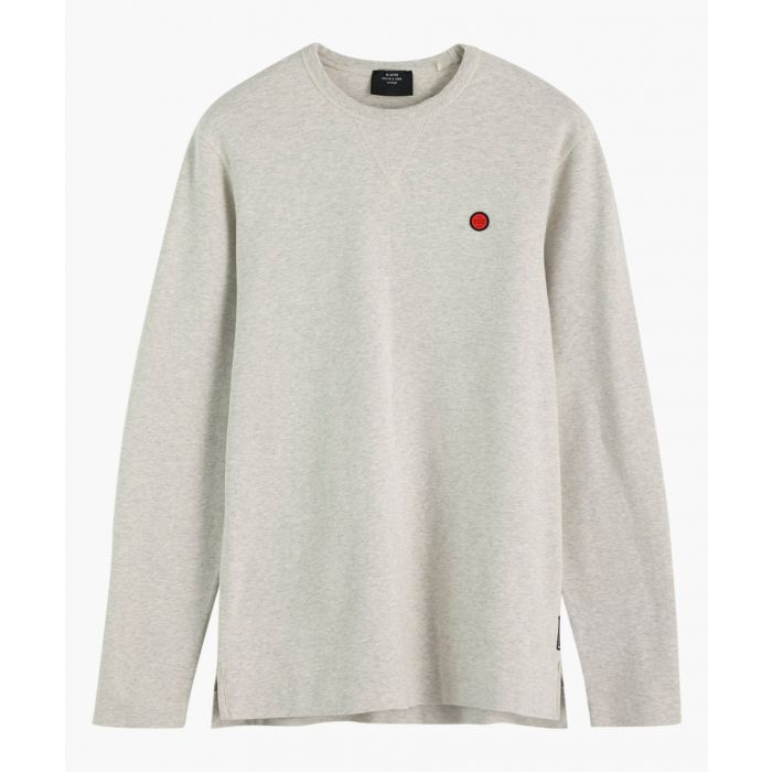 Image for Light grey melage cotton long sleeve T-shirt