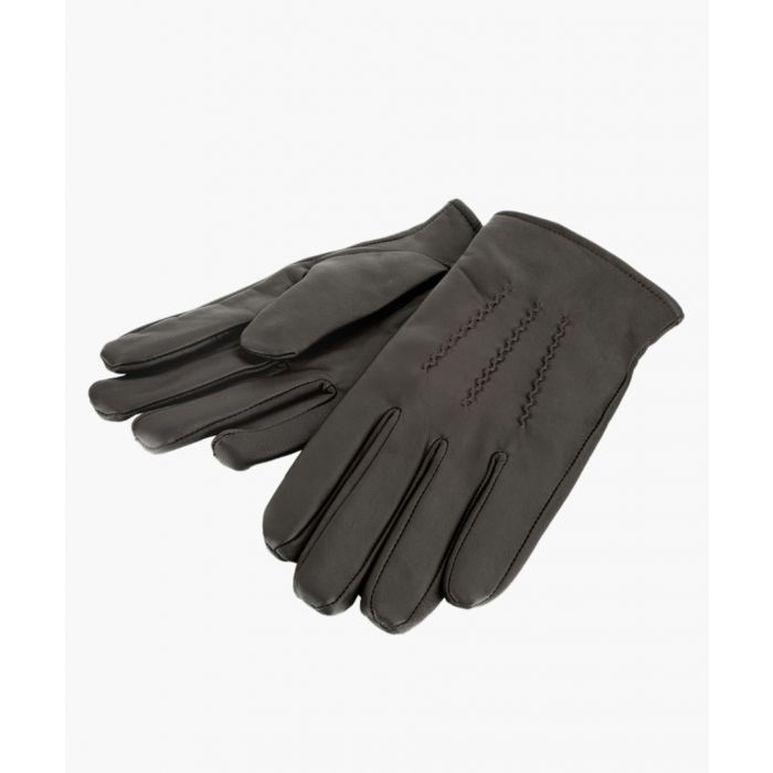 Image for Brown Stitch Detail Leather Gloves