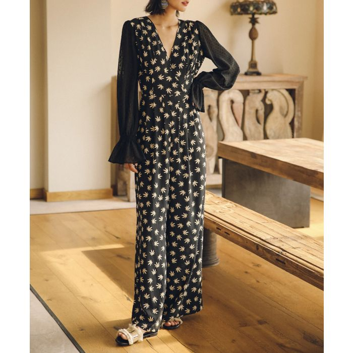 Image for Black leaf print sheer sleeve jumpsuit