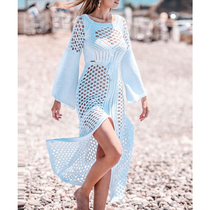 Image for White knitted bamboo dress