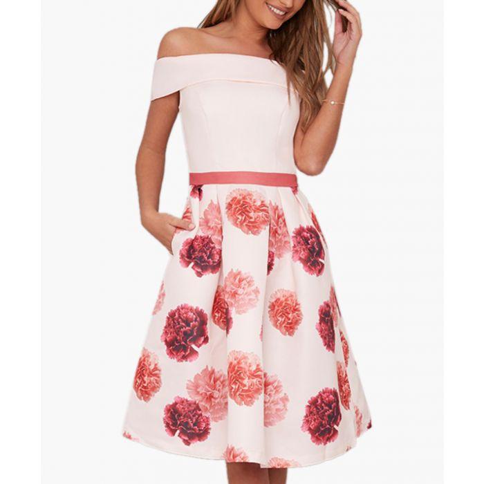 Image for Pink floral printed off-shoulder dress