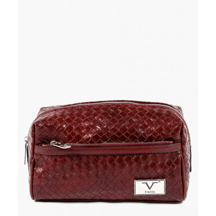 Image for Dark red woven zipped wash bag