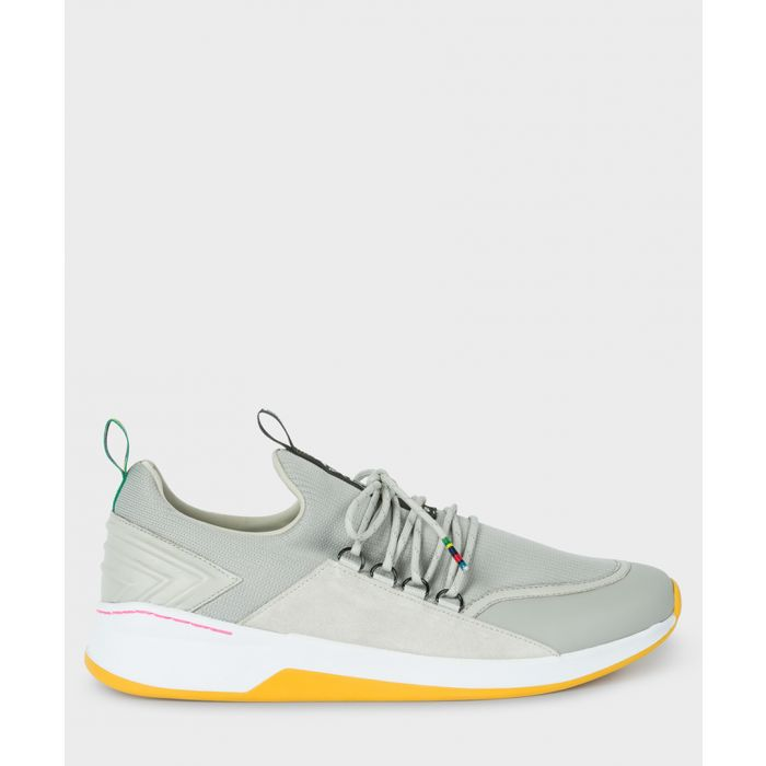 Image for Grey leather contrast sneakers