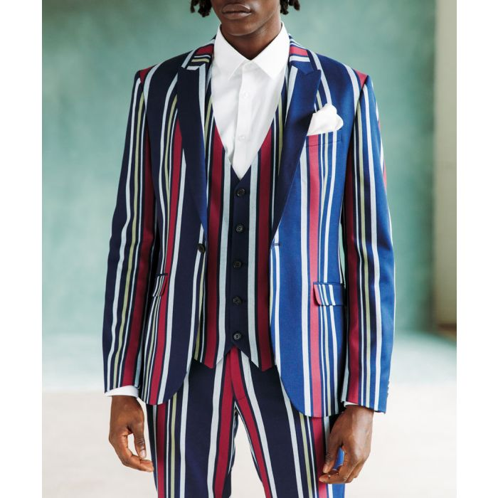 Image for Bold striped skinny suit jacket