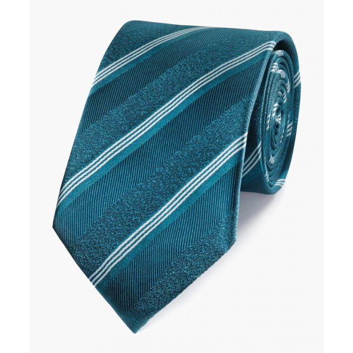 Image for Teal pure silk tonal stripe classic tie