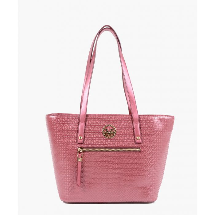 Image for Claret red faux leather shopper