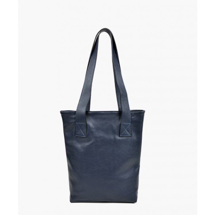 Image for Navy leather tote