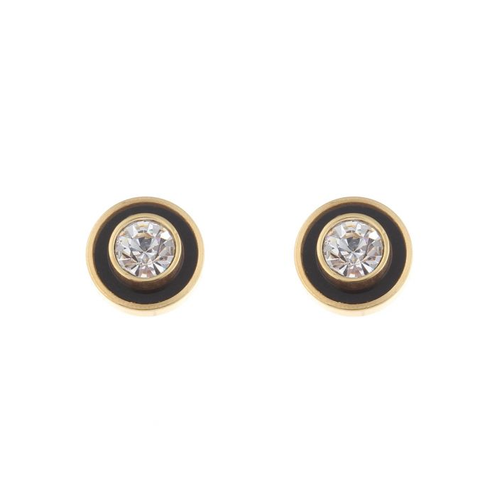 Image for 18k gold-plated onyx studs