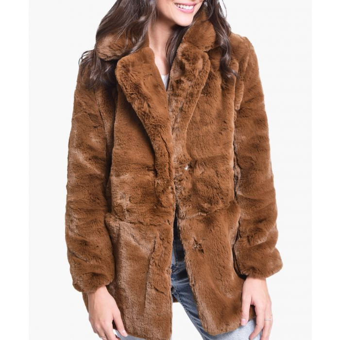 Image for Brown faux fur short coat