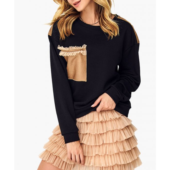 Image for Black and camel cotton blend blouse