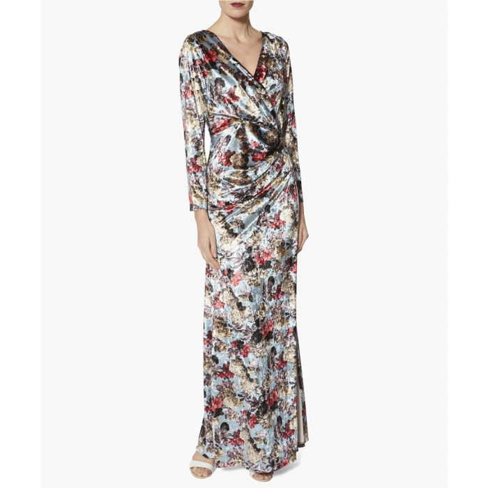 Image for Iced blue jinx oriental velvet floral maxi dress