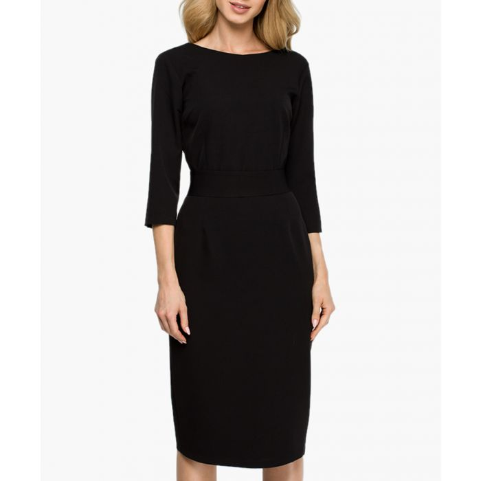 Image for Black v-back buttoned fitted dress