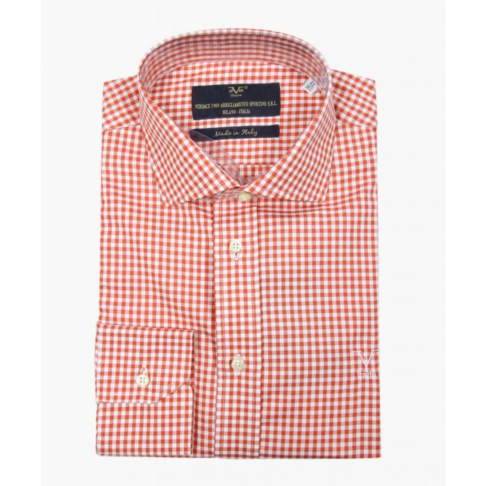 Image for Red and white pure cotton check shirt