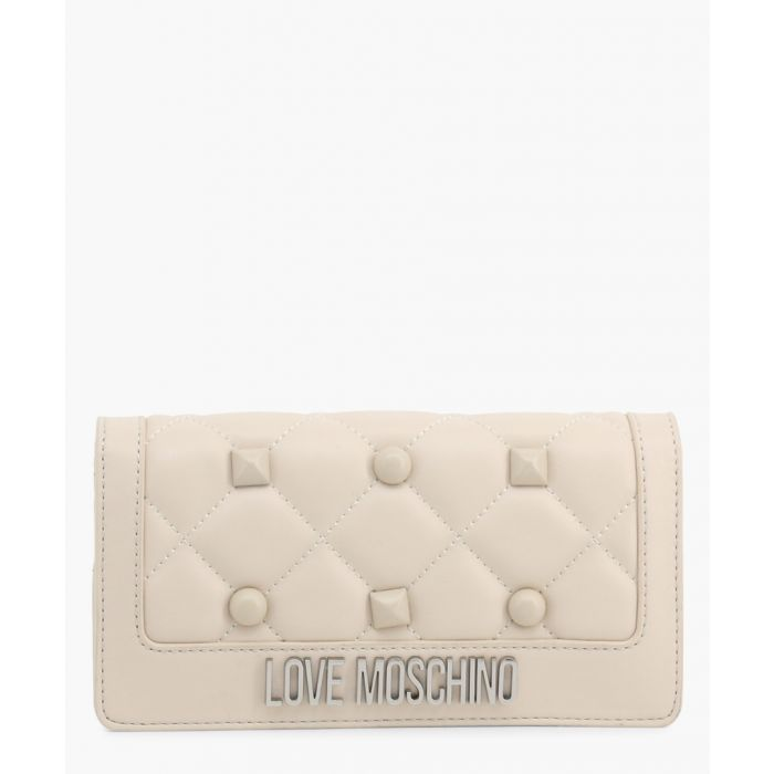 Image for Cream faux-leather clutch