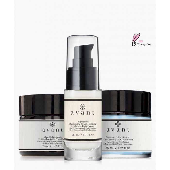 Image for 3pc deluxe hyaluronic acid vivifying night cream, moisturiser and facial serum set