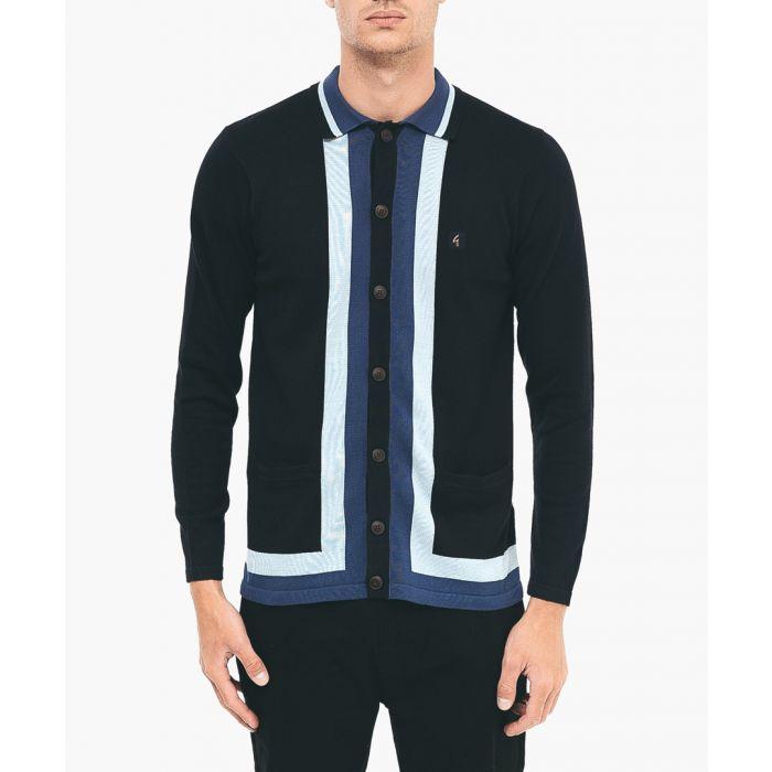 Image for Navy cotton blend patterned cardigan