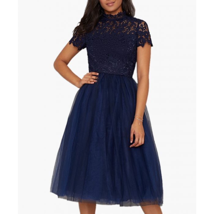 Image for Ari navy knee-length dress