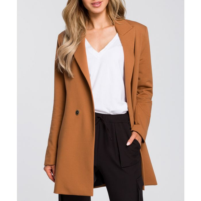 Image for Caramel two-button longline jacket