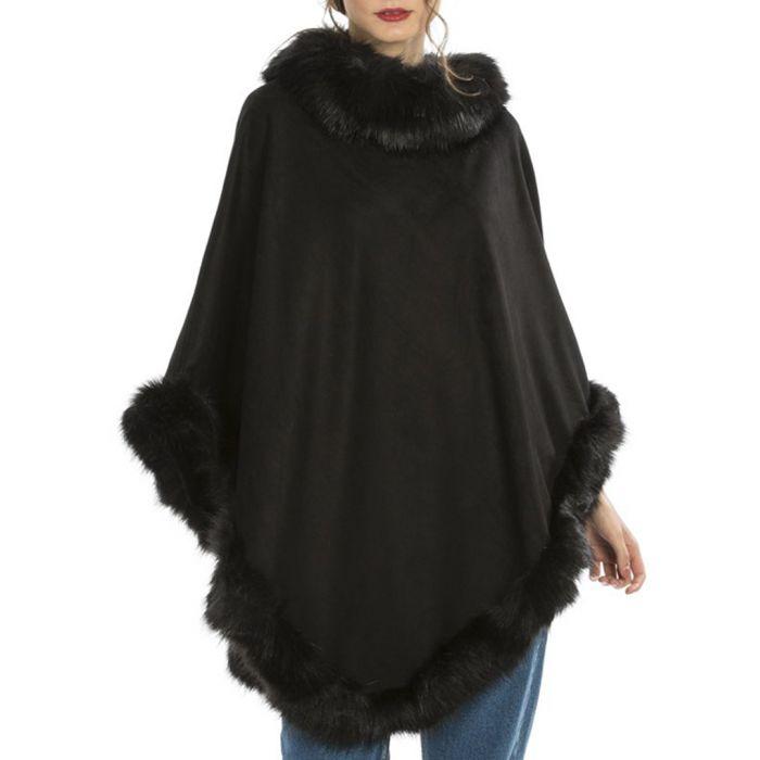 Image for Black faux fur trim poncho