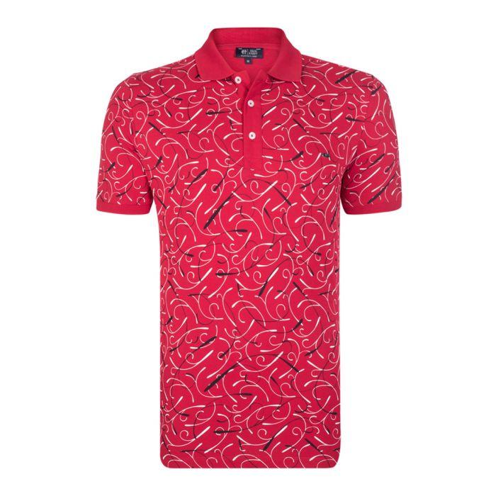 Image for Bordeaux print pure cotton polo shirt