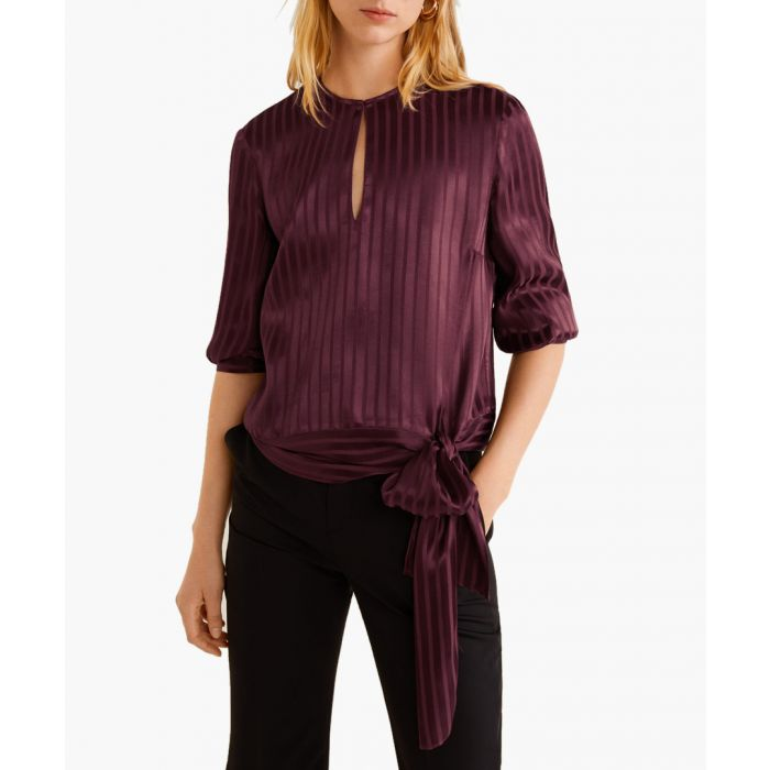 Image for Burgundy satin striped blouse