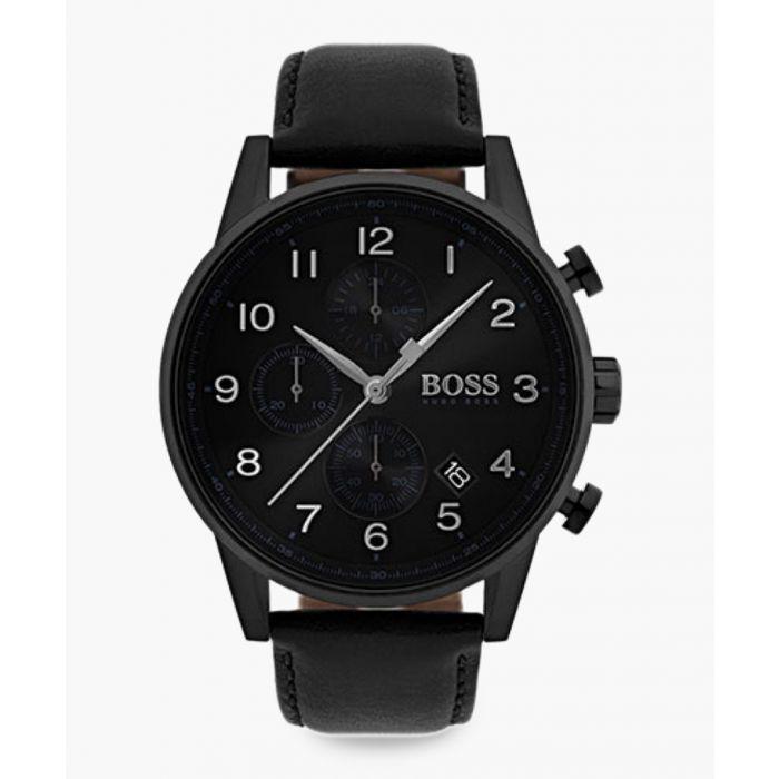 Image for Black leather quartz watch