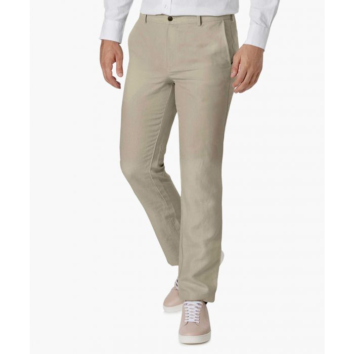 Image for Stone slim fit easy care linen trousers