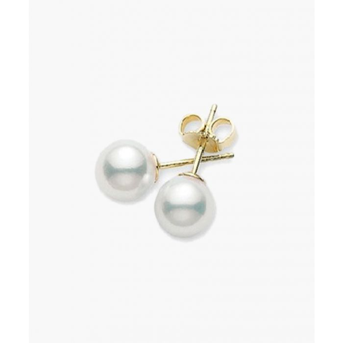 Image for 18ct Yellow gold Japanese Akoya cultured pearl stud earrings