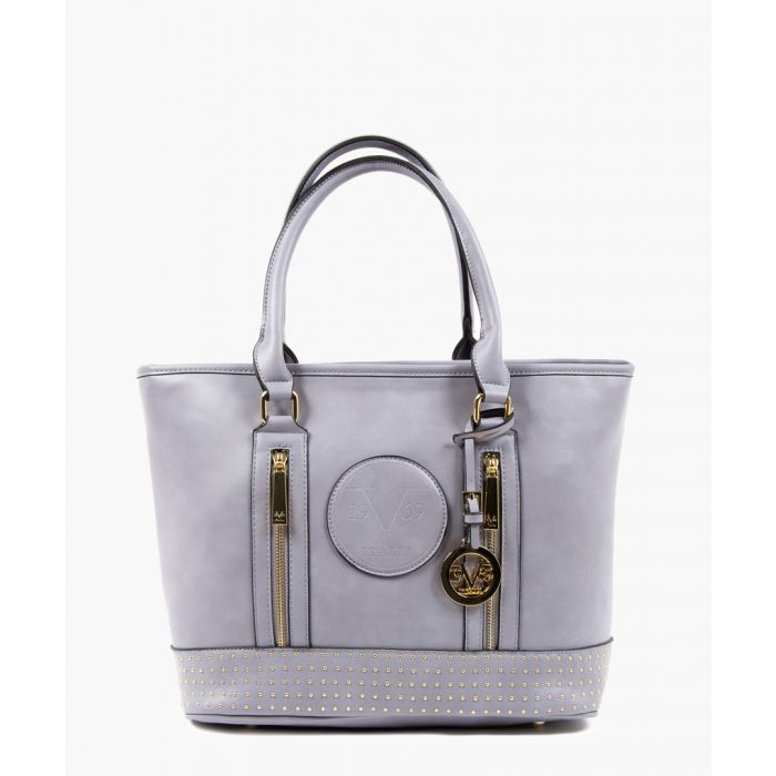 Image for Purple studded shopper bag