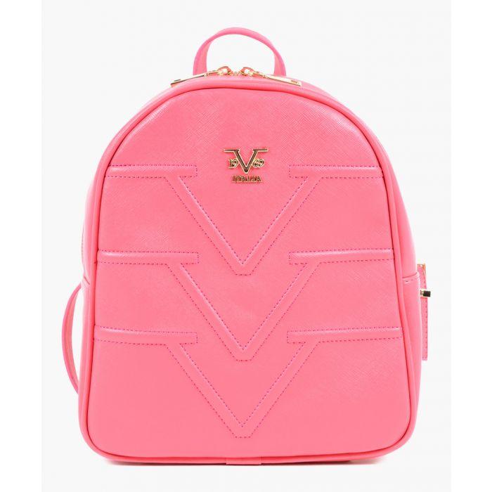Image for Pink faux leather emblem backpack