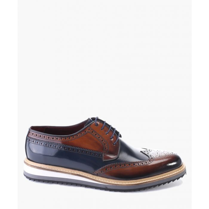 Image for Tan and navy leather derby shoes