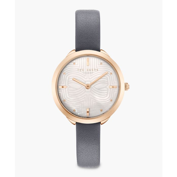 Image for Elena grey leather and stainless steel watch