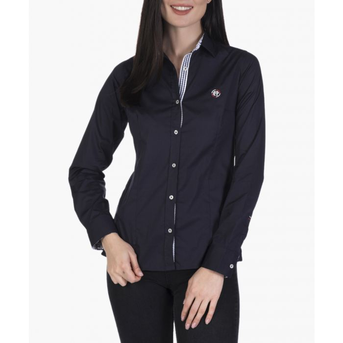 Image for Navy blue stretch cotton shirt
