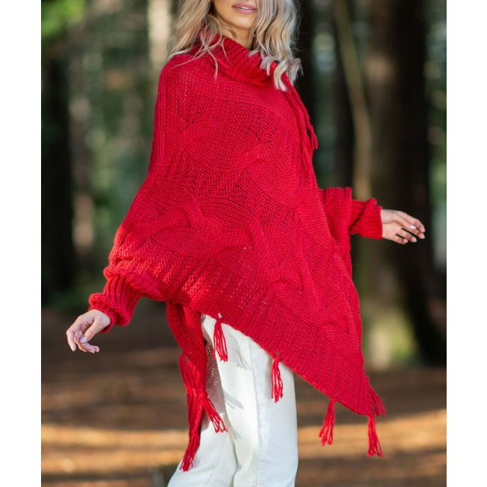 Image for Red knitted alpaca and wool blend poncho