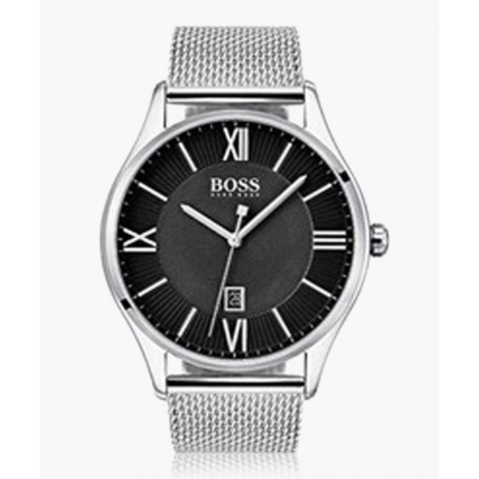 Image for Silver-tone & black mesh watch