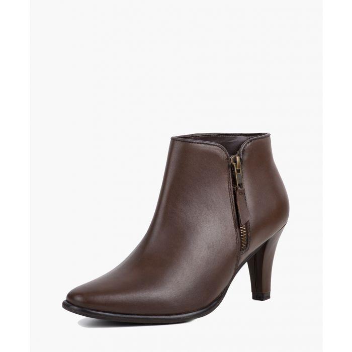 Image for Brown kitten heel boots