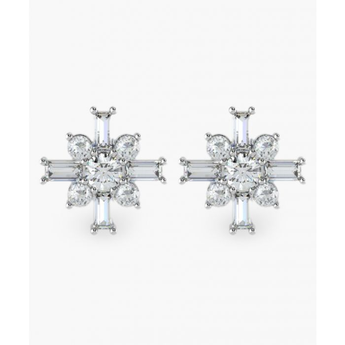 Image for 18k white gold and round and baguette 0.40ct diamond cluster earrings