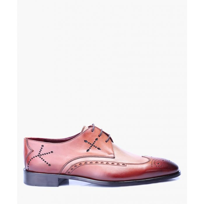 Image for Tan leather derby brogue detail shoes